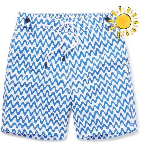 Frescobol Carioca Boys Ages 2 - 8 Copacabana Printed Shell Swim Shorts - Blue Jra3yI9A4J