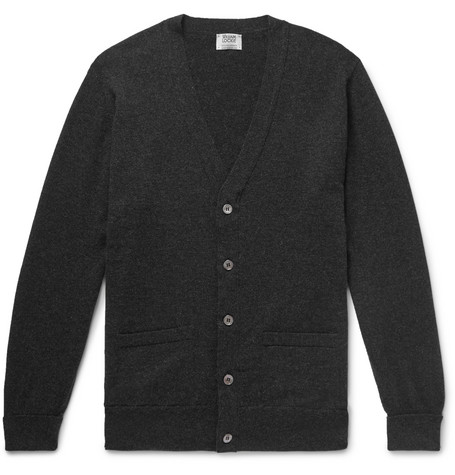 WILLIAM LOCKIE Oxton Cashmere Cardigan in Charcoal