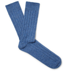 William Lockie Ribbed Mélange Cashmere-Blend Socks