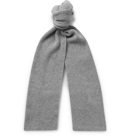 WILLIAM LOCKIE Ribbed Cashmere Scarf in Gray