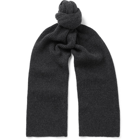 WILLIAM LOCKIE Ribbed Cashmere Scarf in Charcoal