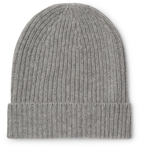 WILLIAM LOCKIE Ribbed Mélange Cashmere Beanie in Gray