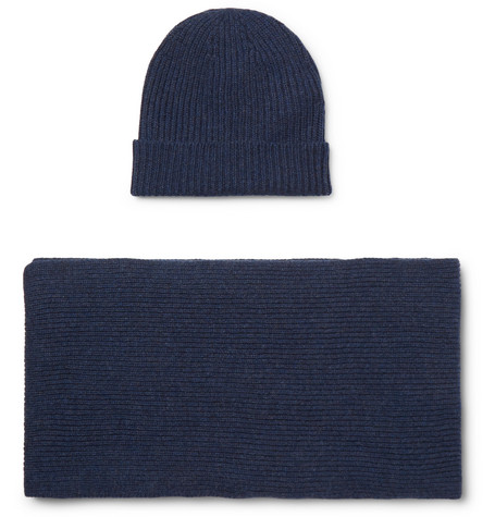 WILLIAM LOCKIE Ribbed Cashmere Beanie And Scarf Set in Blue