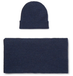 William Lockie - Ribbed Cashmere Beanie and Scarf Set