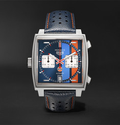 TAG Heuer - Monaco Gulf Edition Automatic 39mm Steel and Leather Watch