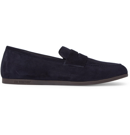 J.m. Weston Suede Penny Loafers In Blue