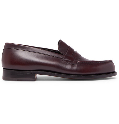 J.M. WESTON 180 The Moccasin Burnished-Leather Penny Loafers - Burgundy