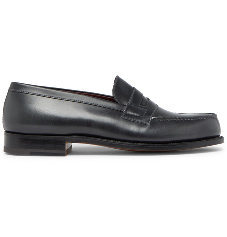 J.M. WESTON Leather Penny Loafers - Dark Gray