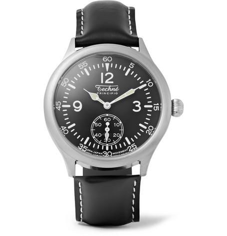 TECHNE WATCHES Merlin 246 Stainless Steel and Leather Watch