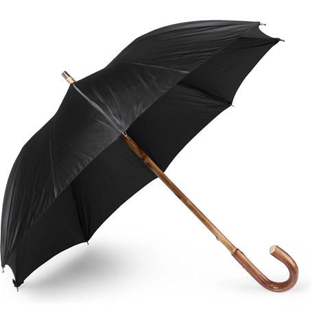 Lord Chestnut Wood-handle Striped Twill Umbrella