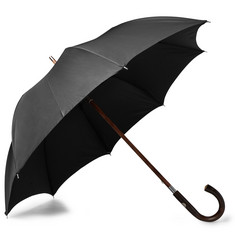 Francesco Maglia Chestnut Wood-Handle Twill Umbrella