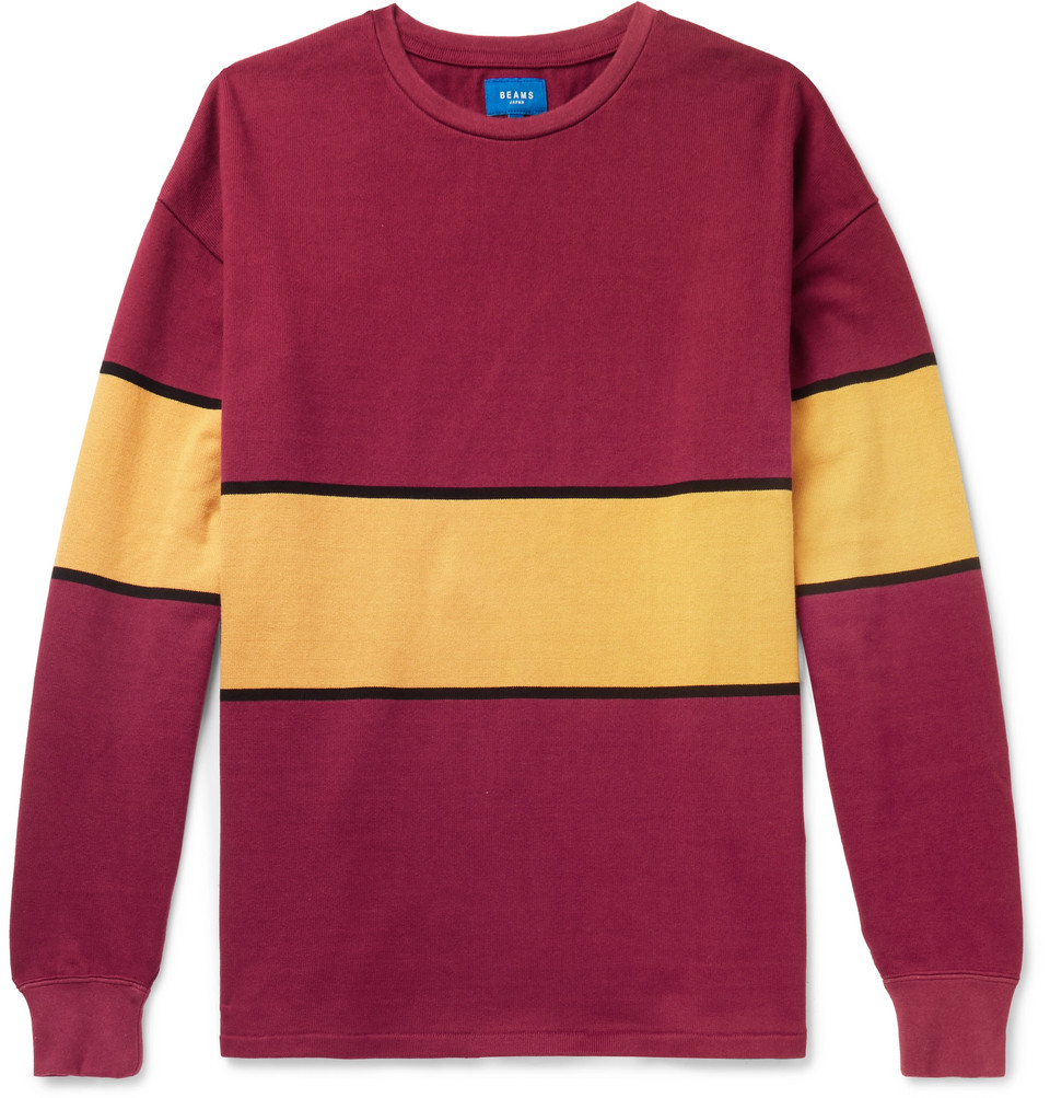 Striped Cotton-jersey T-shirt - Red