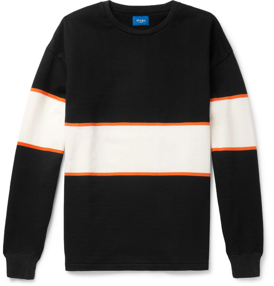 Striped Cotton-jersey T-shirt - Black