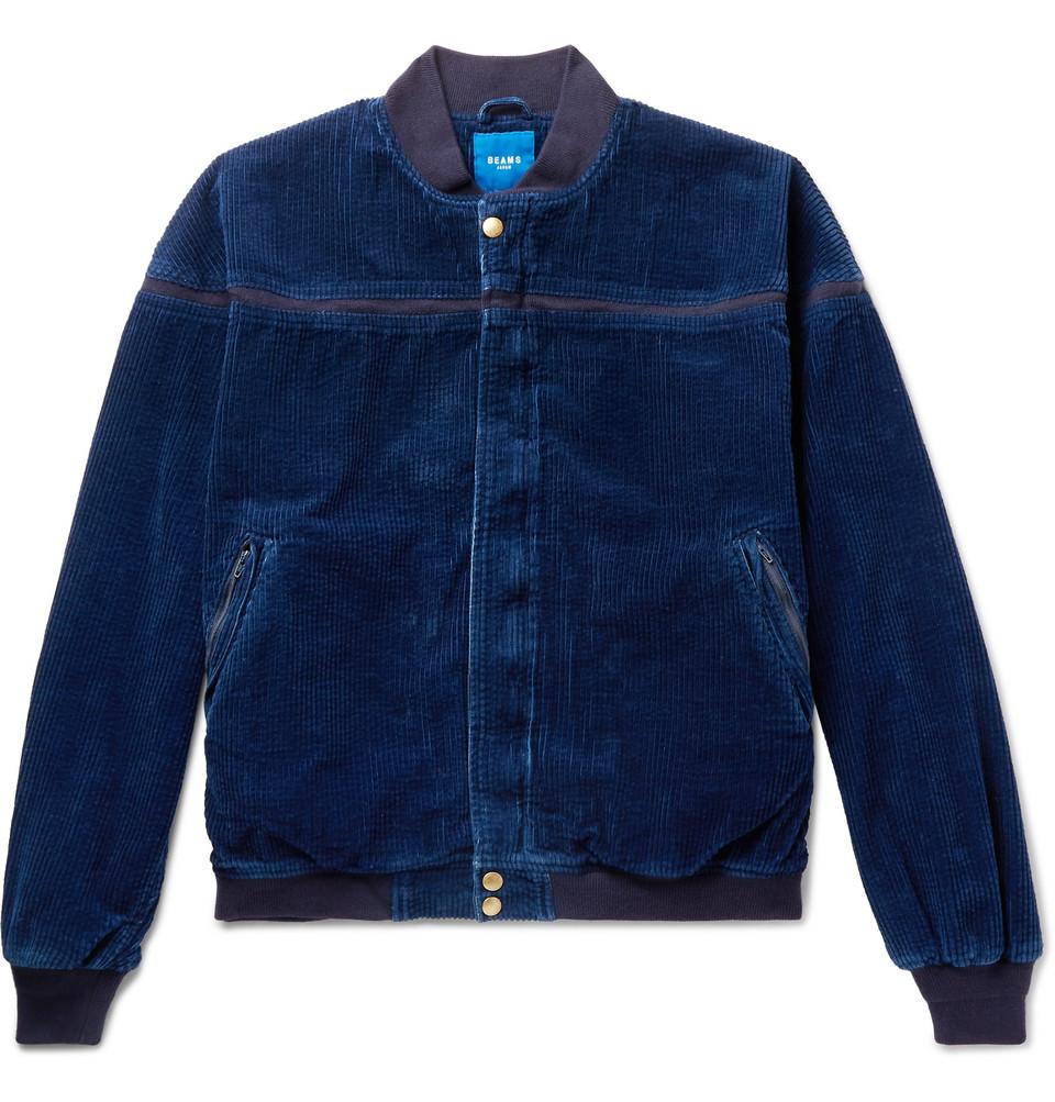 Cotton-corduroy Bomber Jacket - Blue