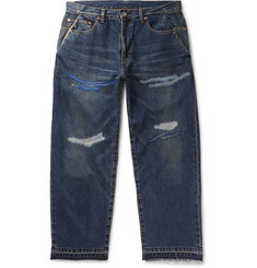 Beams - Embroidered Distressed Denim Jeans