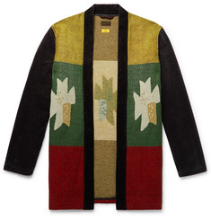 KAPITAL Shawl-Collar Intarsia Cotton-Blend and Corduroy Cardigan