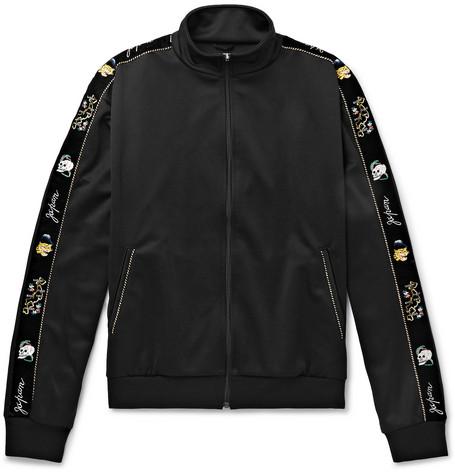 KAPITAL Embroidered Velvet-Trimmed Tech-Jersey Track Jacket - Black
