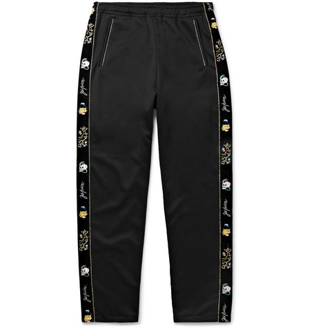 Slim Fit Embroidered Velvet Trimmed Tech Jersey Sweatpants by Kapital