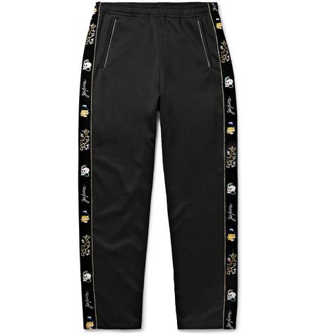 KAPITAL Slim-Fit Embroidered Velvet-Trimmed Tech-Jersey Sweatpants - Black
