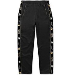KAPITAL Slim-Fit Embroidered Velvet-Trimmed Tech-Jersey Sweatpants