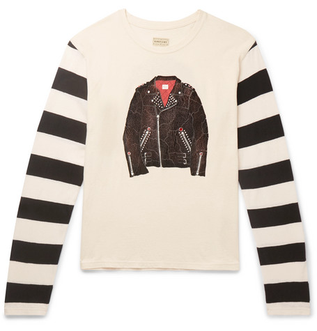 KAPITAL Panelled Printed Cotton-Jersey T-Shirt - Cream
