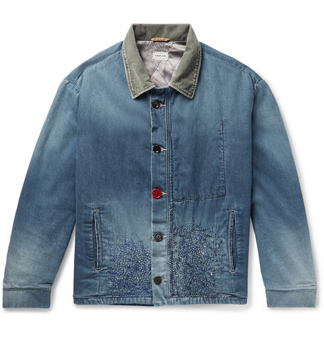 Corduroy Trimmed Embroidered Denim Jacket by Kapital