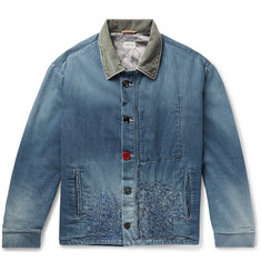 KAPITAL Corduroy-Trimmed Embroidered Denim Jacket
