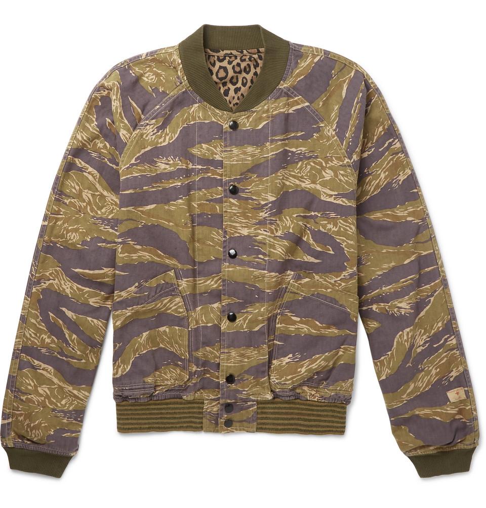 Reversible Printed Herringbone Cotton Bomber Jacket - Brown