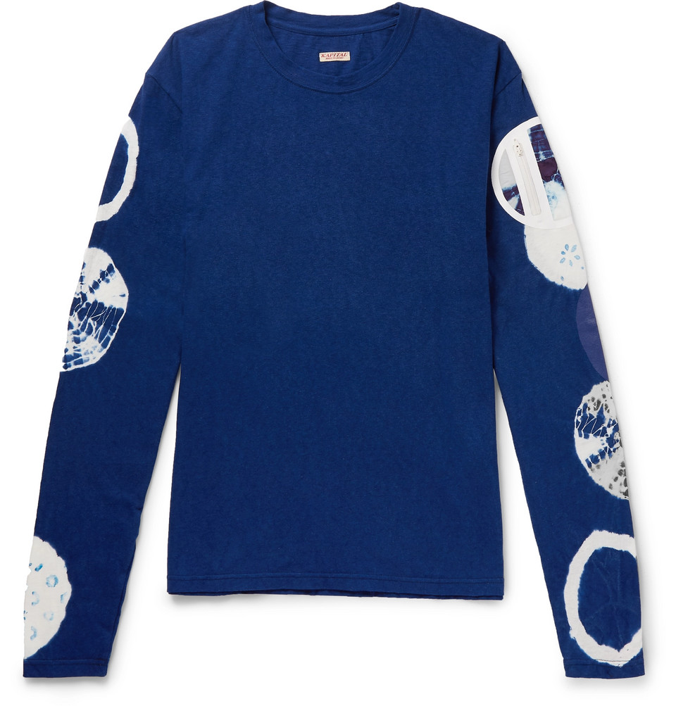 Nylon-trimmed Tie-dyed Cotton-jersey T-shirt - Navy