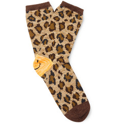 Leopard-jacquard Cotton-blend Socks - Beige