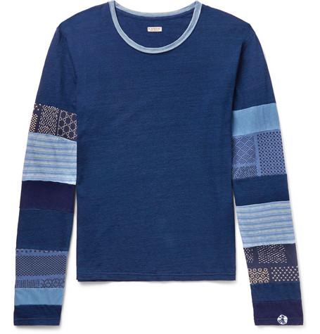 Patchwork Slub Cotton Jersey T Shirt by Kapital