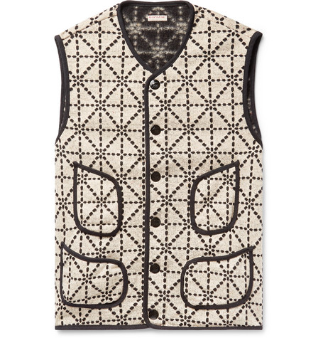 KAPITAL Sashiko-Stitched Knitted Gilet - Ecru
