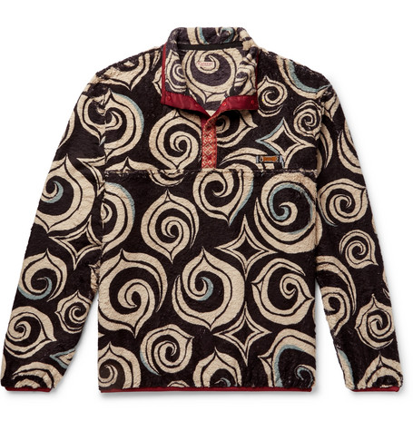 Printed Fleece Half Placket Sweatshirt by Kapital