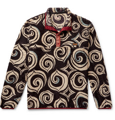 KAPITAL Printed Fleece Half-Placket Sweatshirt