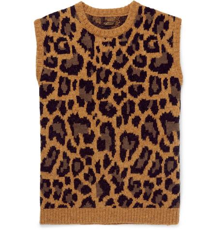 KAPITAL Leopard-Jacquard Wool-Blend Sweater Vest - Brown - One Siz