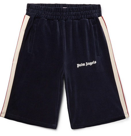 Webbing Trimmed Logo Print Cotton Blend Corduroy Shorts by Palm Angels