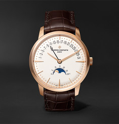 Vacheron Constantin Patrimony Moon Phase and Retrograde Date Automatic 42.5mm 18 Karat Pink Gold and Alligator Watch, Re