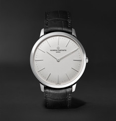 Vacheron Constantin Patrimony Hand-Wound 40mm 18-Karat White Gold and Alligator Watch