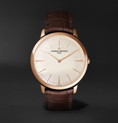 Vacheron Constantin Patrimony Hand-Wound 40mm 18-Karat Pink Gold and Alligator Watch