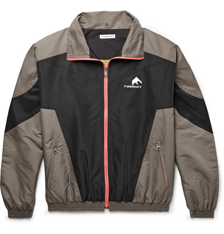 FLAGSTUFF Logo-Embroidered Colour-Block Shell Track Jacket in Dark Gray
