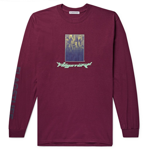 FLAGSTUFF Printed Cotton-Jersey T-Shirt in Burgundy