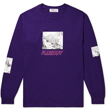 FLAGSTUFF + Video Girl Printed Cotton-Jersey T-Shirt in Dark Purple