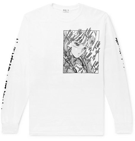 FLAGSTUFF + Video Girl Printed Cotton-Jersey T-Shirt in White