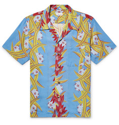 You As Miles Camp-Collar Printed Matte-Satin Shirt