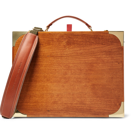 BEST MADE COMPANY FOLDABLE WOOD, LEATHER AND BRASS FIELD DESK SET
