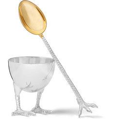 Asprey Sterling Silver Egg Cup and Spoon Set
