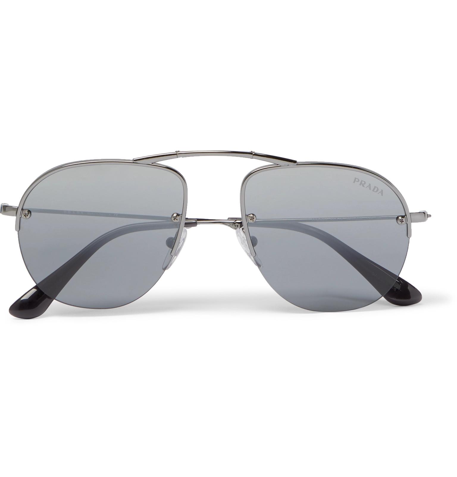 e444fb186b Prada - Aviator-Style Gunmetal-Tone Sunglasses