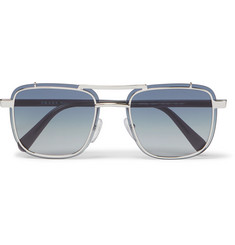 Prada Square-Frame Silver-Tone and Acetate Sunglasses