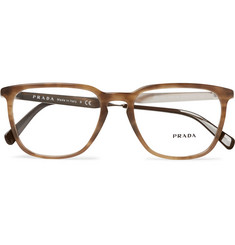 Prada D-Frame Tortoiseshell Acetate and Silver-Tone Optical Glasses