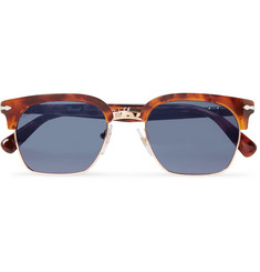 Persol D-Frame Gold-Tone and Tortoiseshell Acetate Sunglasses